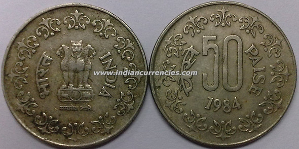 50 Paise of 1984 - Kolkata Mint - No Mint Mark