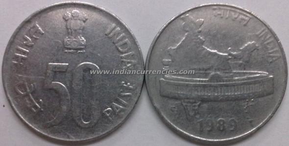 50 Paise of 1989 - Kolkata Mint - No Mint Mark - SS