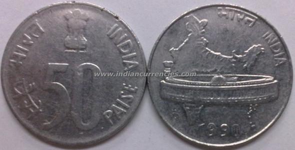 50 Paise of 1990 - Kolkata Mint - No Mint Mark - SS