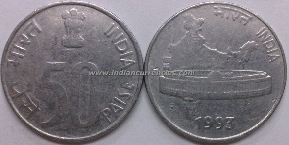 50 Paise of 1993 - Kolkata Mint - No Mint Mark - SS