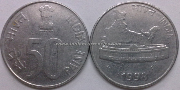 50 Paise of 1998 - Kolkata Mint - No Mint Mark