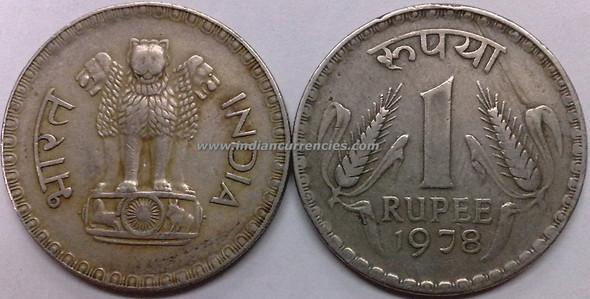 1 Rupee of 1978 - Kolkata Mint - No Mint Mark