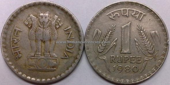 1 Rupee of 1980 - Kolkata Mint - No Mint Mark