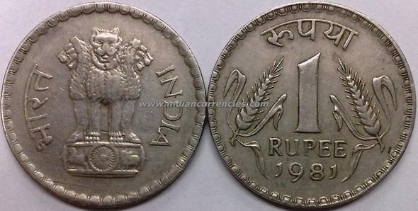 1 Rupee of 1981 - Kolkata Mint - No Mint Mark