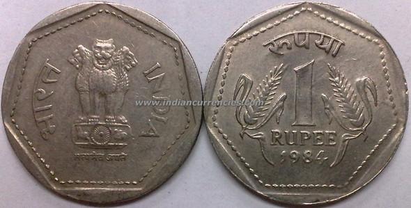 1 Rupee of 1984 - Kolkata Mint - No Mint Mark