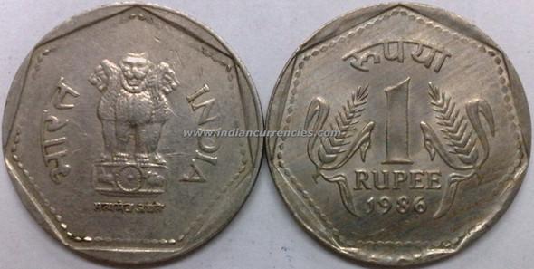 1 Rupee of 1986 - Kolkata Mint - No Mint Mark