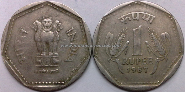 1 Rupee of 1987 - Kolkata Mint - No Mint Mark