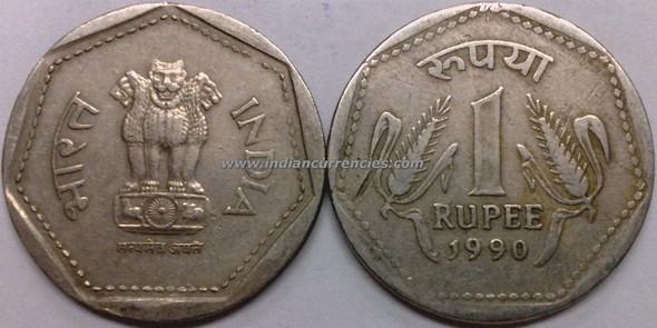 1 Rupee of 1990 - Kolkata Mint - No Mint Mark