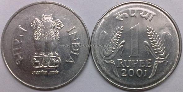 1 Rupee of 2001 - Kolkata Mint - No Mint Mark