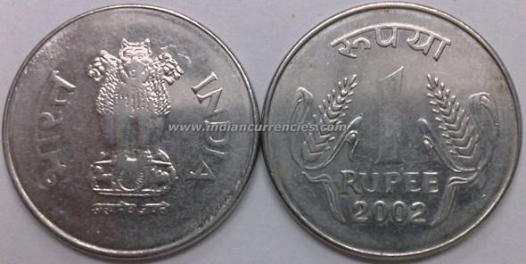 1 Rupee of 2002 - Kolkata Mint - No Mint Mark