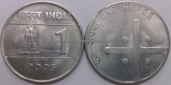 1 Rupee of 2005 - Kolkata Mint - No Mint Mark