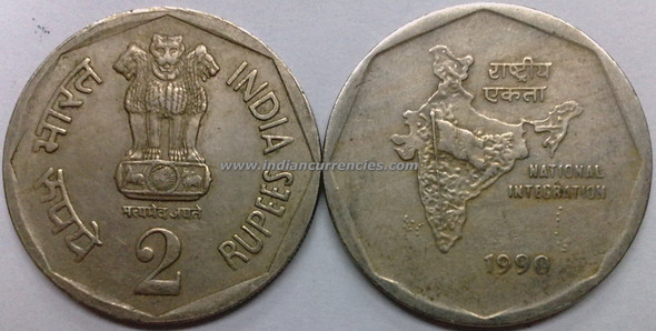 2 Rupees of 1990 - Kolkata Mint - No Mint Mark