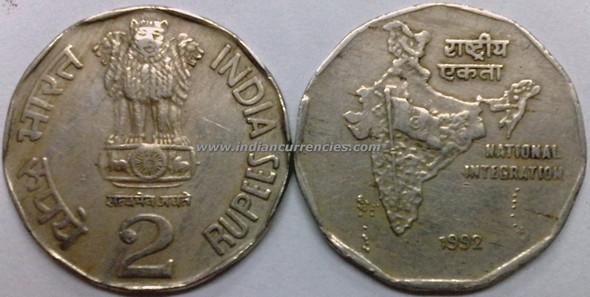 2 Rupees of 1992 - Kolkata Mint - No Mint Mark