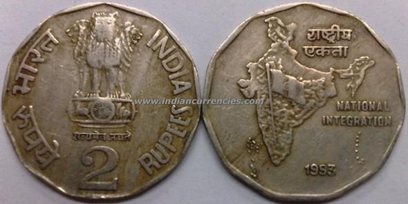 2 Rupees of 1993 - Kolkata Mint - No Mint Mark