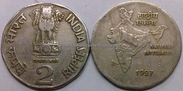 2 Rupees of 1997 - Kolkata Mint - No Mint Mark