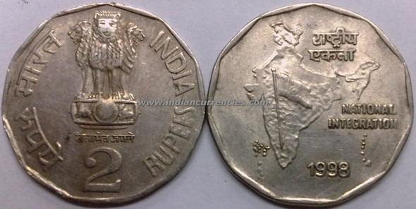 2 Rupees of 1998 - Kolkata Mint - No Mint Mark