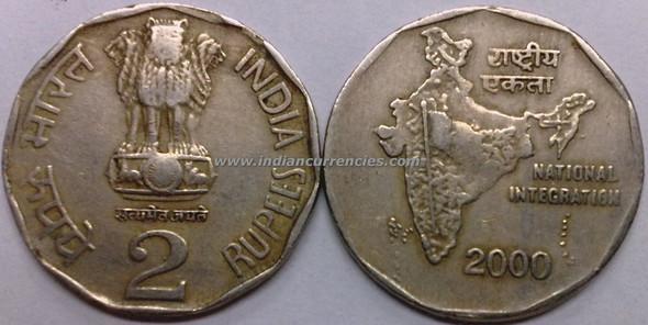 2 Rupees of 2000 - Kolkata Mint - No Mint Mark