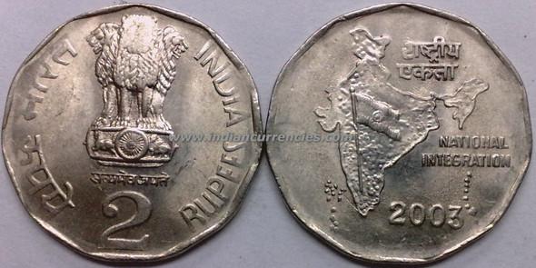 2 Rupees of 2003 - Kolkata Mint - No Mint Mark