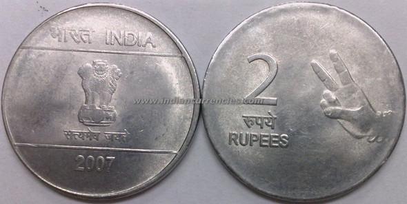 2 Rupees of 2007 - Kolkata Mint - No Mint Mark