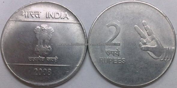 2 Rupees of 2008 - Kolkata Mint - No Mint Mark