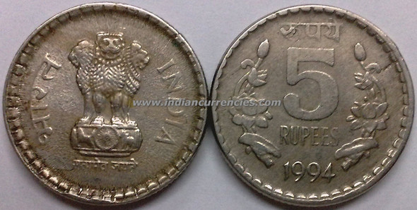 5 Rupees of 1994 - Kolkata Mint - No Mint Mark