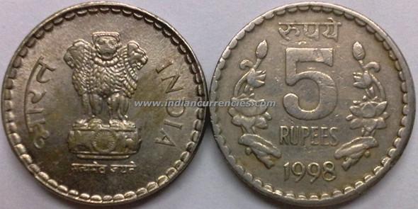 5 Rupees of 1998 - Kolkata Mint - No Mint Mark