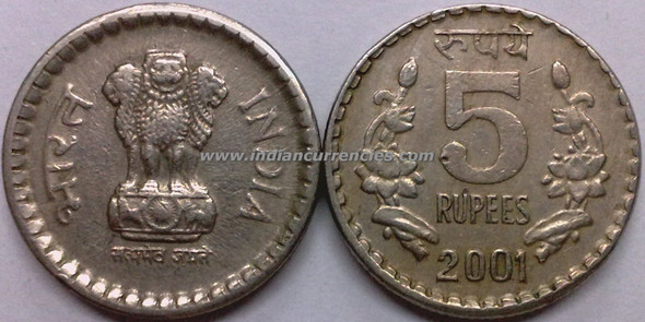 5 Rupees of 2001 - Kolkata Mint - No Mint Mark