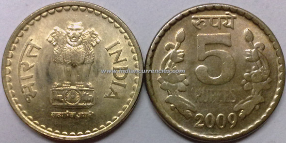 5 Rupees of 2009 - Kolkata Mint - No Mint Mark
