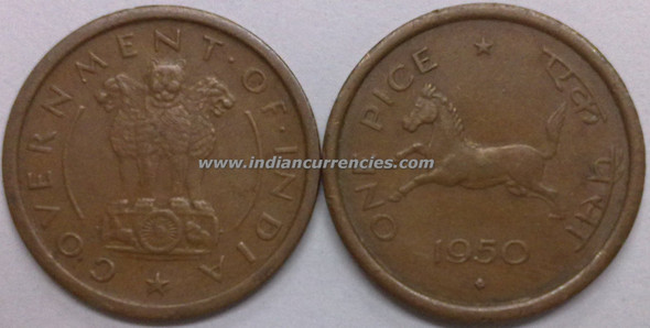 1 Pice of 1950 - Mumbai Mint - Diamond