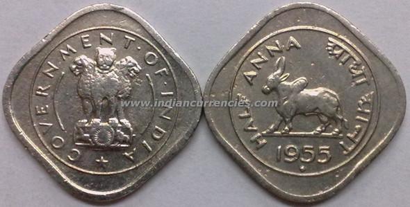 1/2 Anna of 1955 - Mumbai Mint - Diamond