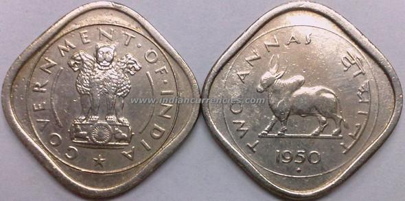 2 Annas of 1950 - Mumbai Mint - Diamond