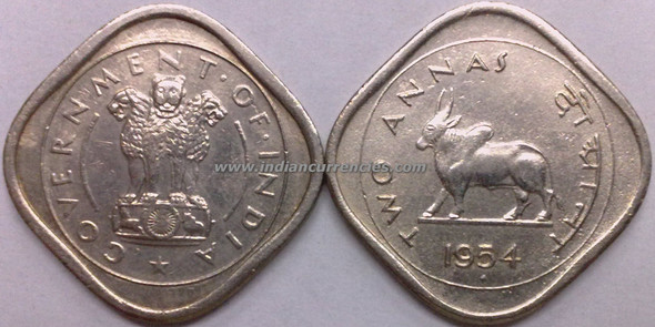 2 Annas of 1954 - Mumbai Mint - Diamond
