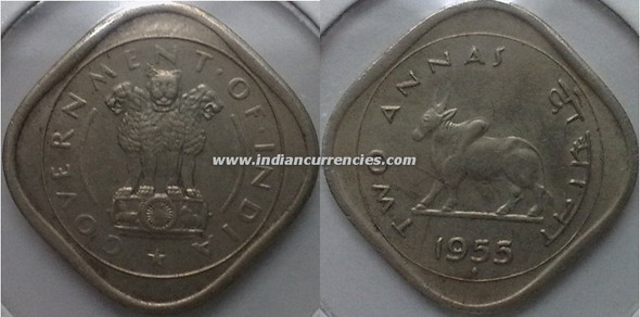 2 Annas of 1955 - Mumbai Mint - Diamond