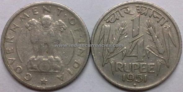 1/4 Rupee of 1951 - Mumbai Mint - Diamond