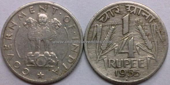 1/4 Rupee of 1955 - Mumbai Mint - Diamond