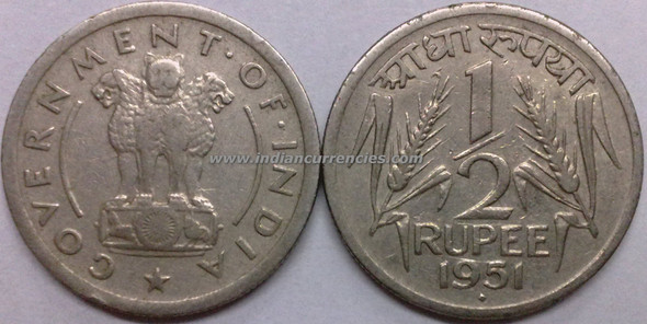 1/2 Rupee of 1951 - Mumbai Mint - Diamond