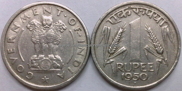 1 Rupee of 1950 - Mumbai Mint - Diamond