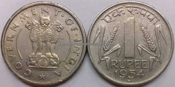 1 Rupee of 1954 - Mumbai Mint - Diamond
