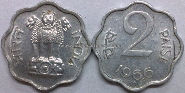 2 Paise of 1966 - Mumbai Mint - Diamond