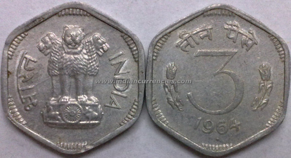 3 Paise of 1964 - Mumbai Mint - Diamond