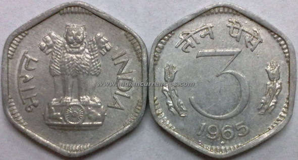 3 Paise of 1965 - Mumbai Mint - Diamond