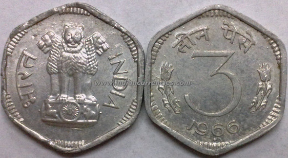 3 Paise of 1966 - Mumbai Mint - Diamond