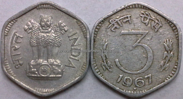 3 Paise of 1967 - Mumbai Mint - Diamond