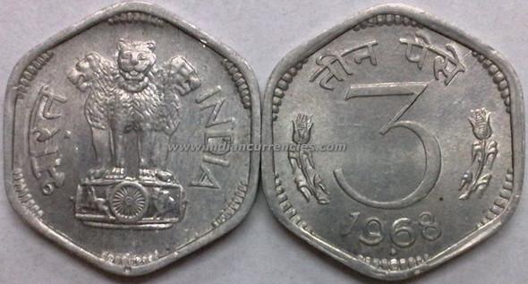 3 Paise of 1968 - Mumbai Mint - Diamond