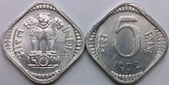 5 Paise of 1972 - Mumbai Mint - Diamond