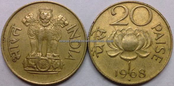 20 Paise of 1968 - Mumbai Mint - Diamond