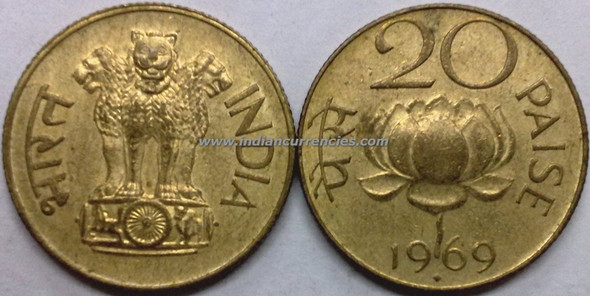 20 Paise of 1969 - Mumbai Mint - Diamond