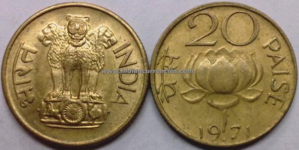 20 Paise of 1971 - Mumbai Mint - Diamond
