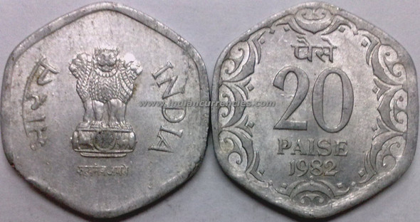 20 Paise of 1982 - Mumbai Mint - Diamond
