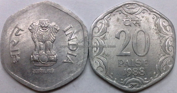 20 Paise of 1988 - Mumbai Mint - Diamond